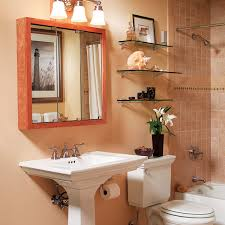 built in open cabinet bathroom storage for artwork display beside