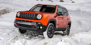 jeep renegade trailhawk lifted off road in the snow with jeep