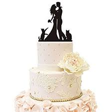 pet cat silhouette wedding cake topper with cat