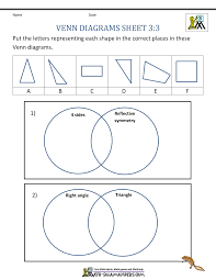 Free Printable Shapes Worksheets Venn Diagram Worksheets 3rd Grade