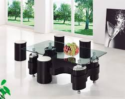 miami beijing glass coffee table with stools