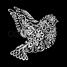 beautiful black and white zentangle stylized dove vintage sketch
