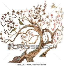 drawing of a cherry blossom tree with birds on it nes0053 search