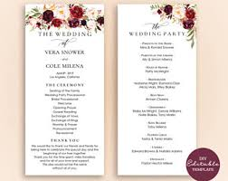 printable wedding programs wedding programs etsy
