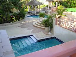 creative small pool designs with waterfall and multilevel design