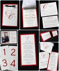 Black And White Invitation Card Formal Red Black U0026 White Monogrammed Wedding Invitations And Day