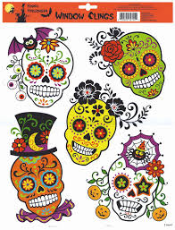window clings skulls cholo day of the dead designs