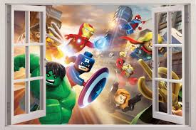lego marvel super heroes window view decal wall sticker decor lego marvel super heroes window view decal