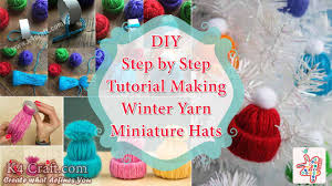 diy step by step tutorial for making winter yarn miniature hats