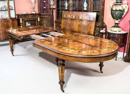 Vintage Burr Walnut Inlaid Dining Table With 14 Chairs Dining Room