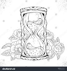 hand drawn romantic drawing hourglass tattoo stock vector