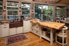 Rustic Kitchen Countertops - kitchen island u0026 carts rustic kitchen with a pale raw edge wooden