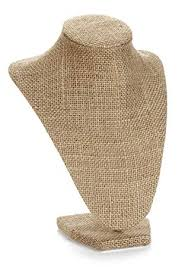 necklace display stand images Burlap necklace bust jewelry display stand 10 quot high jpg