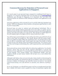 common reasons for rejection of personal loan applications in singapo u2026