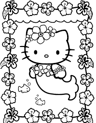 kitty coloring pages adorable mermaid cartoon