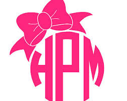 bow monogram bow monogram decal etsy