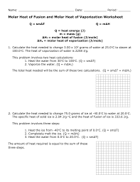 molar heat of fusion and molar heat of vaporization worksheet