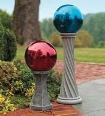 using gazing balls as garden decorations lovetoknow