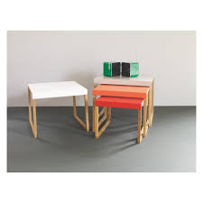 buy nest of tables kilo red and grey metal nest of 3 side tables metal side table