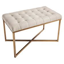 Bakers Rack Target Threshold Tufted Bench Buff Beige And Gold Target