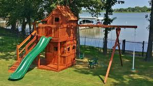 mustang swing set upper lower cabins backyard fun factory