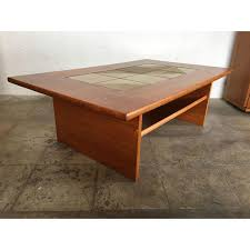 mid century danish modern tile top coffee table chairish