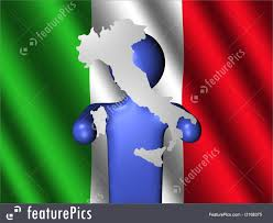 Itlaly Flag Abstract 3d Texture Man With Italy Map On Flag Stock