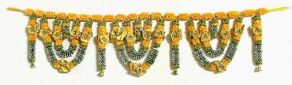 chagne satin ribbon satin ribbon flower door toran with and golden bell
