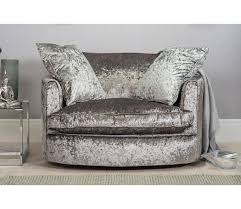 Swivel Cuddle Chair Large Crushed Velvet Cuddle Twister Chair Silver Grey