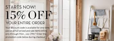 pottery barn black friday sales pottery barn week only 15 off your entire order milled