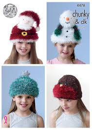 king cole childrens christmas hat knitting pattern santa snowman