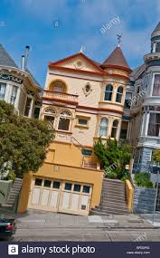 victorian style house in san francisco california usa stock