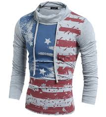 American Flag Hoodies For Men New Fashion Brand Men Stand Hoodie British Style Striped Full
