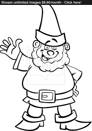 gnome or dwarf cartoon for coloring book vector yayimages com