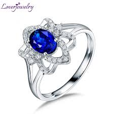 aliexpress buy anniversary 18k white gold filled 4 real 14k white gold diamond blue sapphire anniversary ring