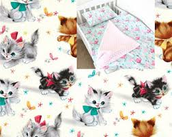 Kitten Bedding Set Girls Bedding Etsy