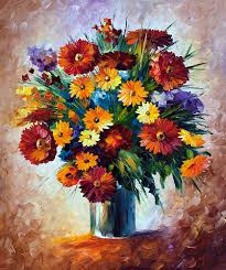 magic flowers u2014 palette knife oil painting on canvas by leonid