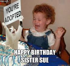 Funny Birthday Meme For Sister - happy birthday sister sue happy birthday quickmeme