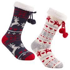 christmas socks womens chunky christmas socks warm winter non slip gripper