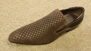 zota mens brown mini checkered leather and suede slip on shoe hfd1 b1