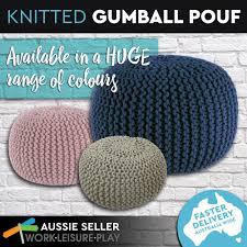 Knitted Ottoman Knitted Pouf Ottoman Australia Knit Blue Braided Canada Storage