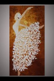 5 piece canvas wall art hand painted palette knife oil hand painted white brown dancing ballerina painting wall art picture