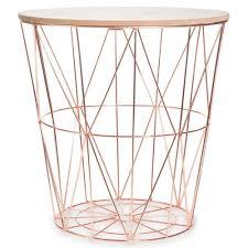Gueridon Maison Du Monde Copper Rose Gold Scandi Geometric Metal Wire Wood Occasional