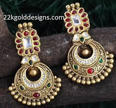 gujarati earrings gold antique earrings archives 22kgolddesigns