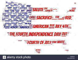 Flag Tag Tag Cloud Of 4th Of July In The Shape Of Flag Inside The Usa Map