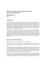 business continuity plan template for small business barriers to effective business continuity planning risk working barriers to effective business continuity planning risk working papers no 2 pdf download available