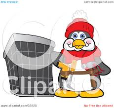 clipart illustration of a handy penguin mascot cartoon character
