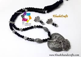 black glass necklace images Buy black glass beads necklace with german silver pendant and jpg