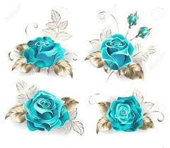 turquoise roses set of turquoise roses with leaves of white gold on a white