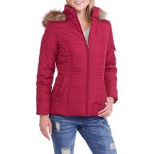 faded glory women s quilted puffer jacket with fur trim hood